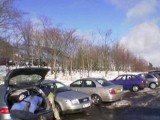A snowy carpark in Derbyshire